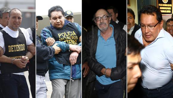 Adolfo Bazán Gutiérrez, Carlos Burgos, Edwin Donayre y Felix Moreno son algunos de los más buscados que fueron detenidos por la PNP. (Fotos: El Comercio)