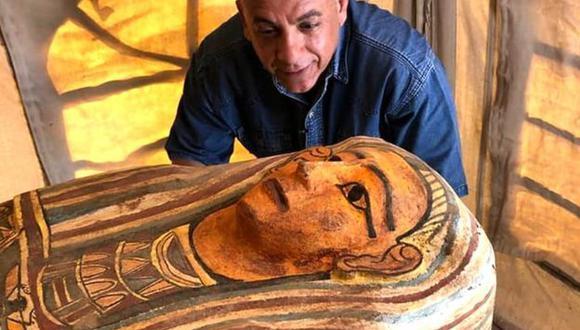 Algunos de los ataúdes estaban decorados con coloridos patrones ornamentales. (MINISTERIO DE ANTIGÜEDADES DE EGIPTO).