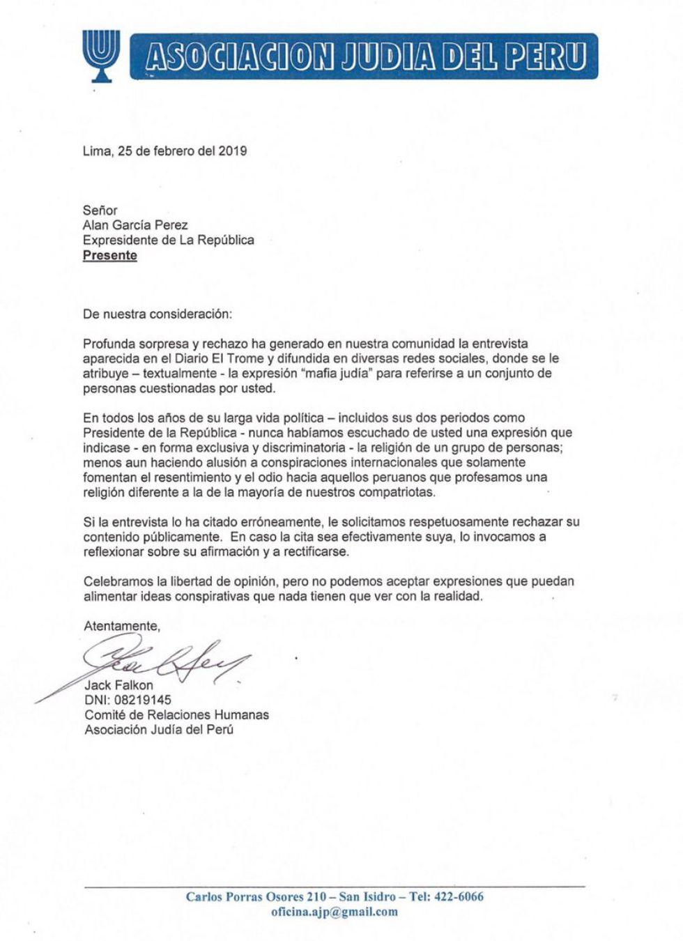 Documento fue enviado el 25 de febrero al ex presidente Alan García.