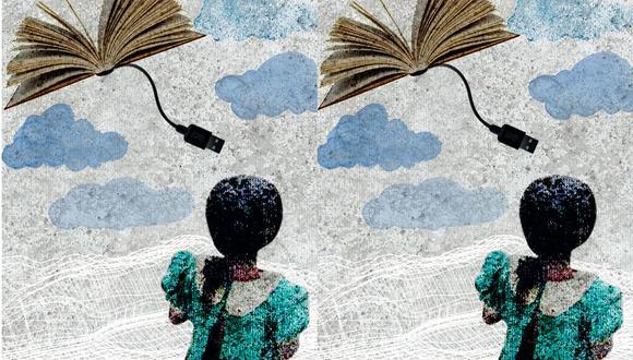 """""""La Defensoría del Pueblo calcula que la cancelación del contrato de compra de las tabletas afecta a estudiantes de 27.837 escuelas públicas"""". (Ilustración: Raúl Rodríguez)"""