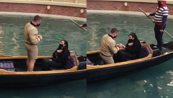 Un video viral muestra cómo el error de un novio inmortalizó la proposición de matrimonio a su pareja durante un romántico viaje en Las Vegas. | Crédito: @pmarie22 / TikTok