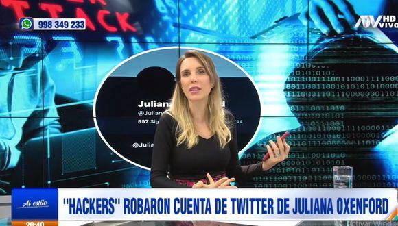 "Juliana Oxenford indignada tras ser hackeada por segunda vez en Twitter: ""No me van a silenciar""  (Foto: captura)"