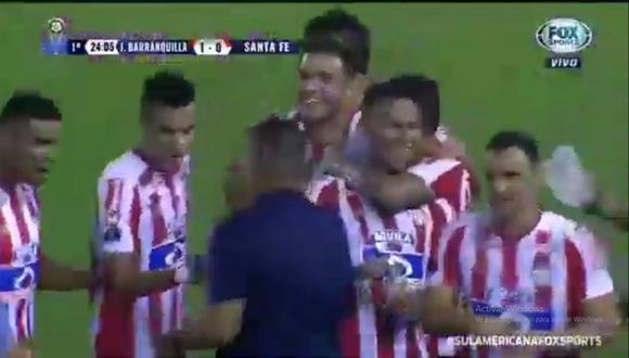 Teófilo Gutierrez se hizo presente en el marcador y marcó el primer tanto en el Junior vs. Santa Fe. El encuentro se desarrolló por el duelo de vuelta de la Copa Sudamericana (Foto: captura de pantalla)