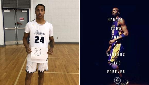 Un basquetbolista universitario hizo 81 puntos en un partido y así le rindió homenaje al fallecido Kobe Bryant   Foto: @zidpowell