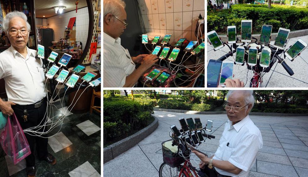 Chen San-Yuan es un jubilado de 70 años de Taiwán que pasa sus días manejando bicicleta y usando 11 celulares a la vez busca convertirse en un maestro del Pokémon GO. (Crédito: EFE)