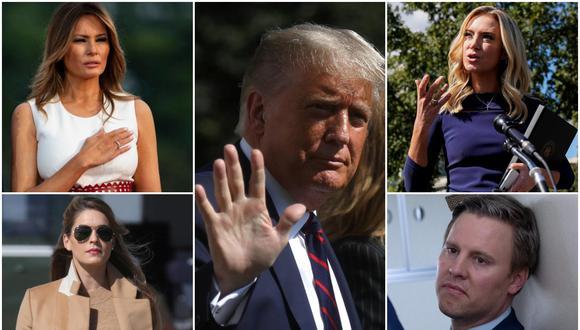 Además del presidente de Estados Unidos, Donald Trump, y la primera dama, Melania, se ha confirmado que son seis los trabajadores de la Casa Blanca, tres periodistas, una importante figura del mundo académico y otros cinco personajes políticos de alto nivel quienes han arrojado positivo a la prueba de Covid-19. (Fotos: Reuters / AFP / EFE)