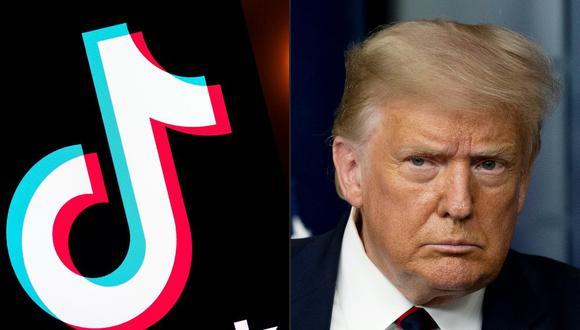Esta combinación de imágenes muestra el logotipo de la aplicación TikTok en una pantalla y el presidente de los Estados Unidos, Donald Trump, en la Casa Blanca en Washington D.C. (AFP)