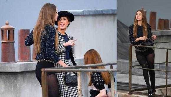 La humorista francesa Marie Benoliel trepó en la pasarela de Chanel al final de su desfile, mimetizándose entre las modelos con ánimo de burla en el 'catwalk' final. (Fotos: Instagram/ AFP)