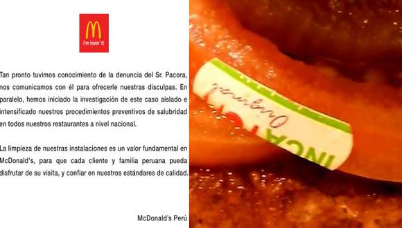 Facebook: McDonald's se disculpa por stickers en tomates