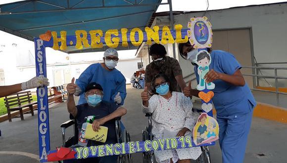 Ica: Esposos de más de 70 años de edad fueron dados de alta luego de vencer al COVID-19 (Foto: hospital regional Ica)