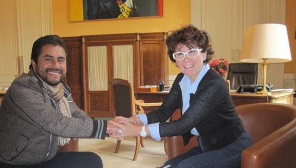 Edy Benavides junto a la diputada Laurence Cohen del Partido Comunista Francés (Foto: Facebook)