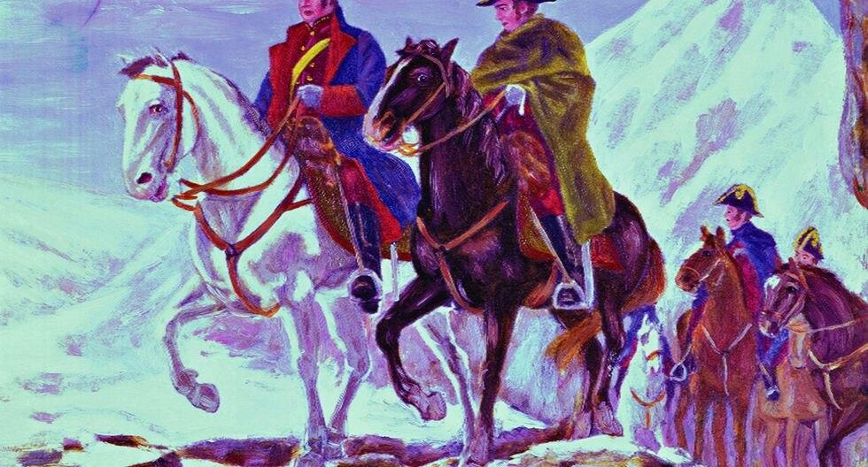 San Martin liderando su ejercito a través del Paso Uspallata de los Andes. Esto llevó a la derrota de los españoles en Chacabuco (1817). Esta es una pintura del artista argentino Agosto Ballerini.