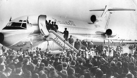 Toma panorámica del 30 de abril de 1968, cuando fue bendecido el primer jet de Faucett. FOTO: Archivo Histórico El Comercio