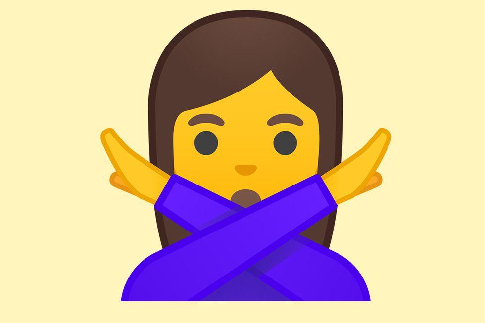 """¿Sabes realmente lo que significa el emoji de la mujer con los brazos en """"X"""" en WhatsApp? (Foto: Emojipedia)"""