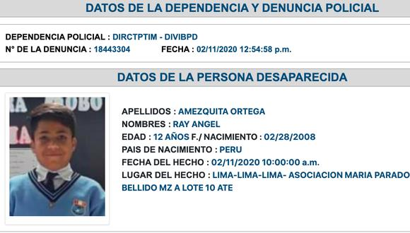 La denuncia de desaparición del menor Ray Ángel tiene 24 horas de haberse presentado.