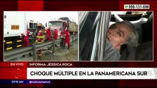 Hombre queda atrapado entre las llantas de trailer tras triple choque en la Panamericana Sur
