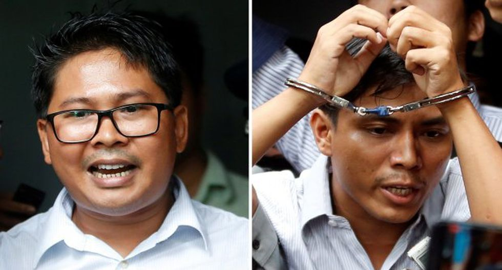 Medio centenar de simpatizantes se congregaron en Rangún (Birmania) para expresar su apoyo a los reporteros Wa Lone (i) y Kyaw Soe Oo (d). (Foto: EFE)