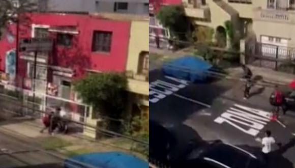 Gresca ocurrió cerca del cruce de jirón Martín Guisse y la avenida Trinidad Morán, cerca de la sede del Touring y Automóvil Club del Perú, en el distrito de Lince. (Captura Canal N)