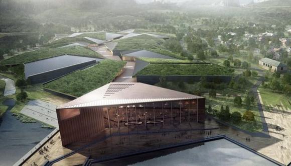 Imagen del centro de datos proyectado, que estaría rodeado de agua por tres lados como medida de seguridad. (Foto: Kolo)