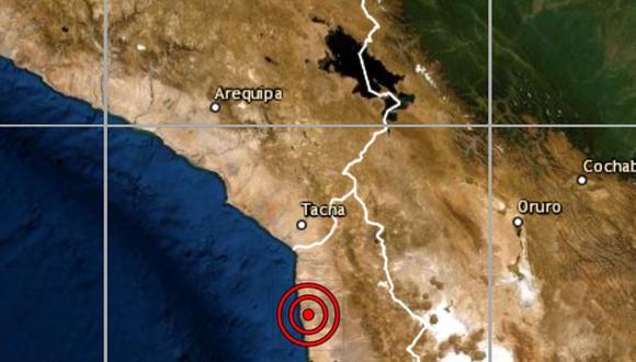 De acuerdo con el IGP, el epicentro de este movimiento telúrico se ubicó a 139 kilómetros al sur de Tacna. (IGP)